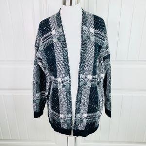 Very J Black White Gray Plaid Cozy Open Cardigan S